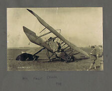 WW1 Crashed RAF Bi-Plane - Vintage Photograph dated 3 August 1918