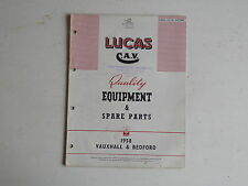 LUCAS Parts List 1958 VAUXHALL BEDFORD cars and commercials