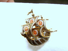 VTG Enamled Brass DAMASCENE SPANISH SAILING SHIP BOAT PIN BROOCH