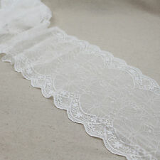 1 Yard White Scalloped Stretch Lace Trim Tulle For DIY Craft Lingerie Wide 7 1/4