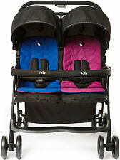 Joie Aire Twin Stroller Pink/Blue Double/Duo Buggy Baby/Toddler Travel BNIB