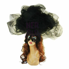 Hot Black Large Cloud Hat Lace veil Halloween Costume Drag Queen Accessory