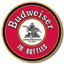 Budweiser in Bottles round metal wall sign  300mm diameter (ga)