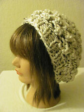 ACRYLIC HANDMADE  OATMEAL  KNITTED SLOUCHY BEANIE IN POP CORN PATTERN ONE SIZE.