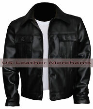 Elvis Presley The King of Rock Synthetic leather Jacket Black Color Slim-fit