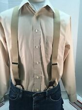 "New, Men's, XL,1.5"" Adj. Khaki, Dressy Button-On Suspenders / Braces, Made n USA"