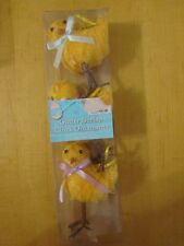 V1231 Set of 3 Burlap Chick Ornaments Party Decorations, Easter, Baby Shower