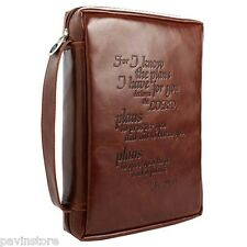Vintage Leather Look Bible Book Cover Medium Jeremiah Cross Engraved Zipper NEW