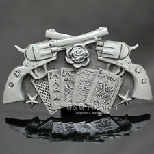 Retro Silver Western Rose Cross Gun Star Royal Flush Poker Gamble Belt Buckle