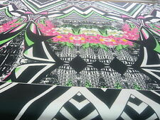 STRETCH VISCOSE JERSEY-LARGE GEOMETRIC   PRINT-DRESS FABRIC-FREE P&P