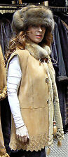 ***SWOON***DENNIS BASSO TAN SHEARLING & RUSSIAN SABLE FUR VEST JACKET COAT 8-12