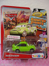 2012/2013 Pixar CARS 2 Green NICK STICKERS∞Radiator Springs Classic∞Toys R Us