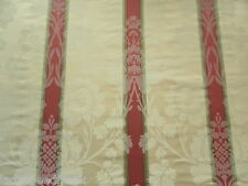 Sanderson Curtain Fabric MARLBOROUGH 2.15m Rose/Cream Floral Damask Stripe Weave