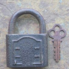 Antique Pressed Steel Corbin Hercules Padlock & Key