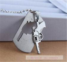 Classic Men's Stainless Steel Silver Lou empty pistol Pendant Jewelry Necklace