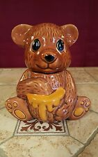 Vintage Collectible Bear Honey Pot / Jar Hand Painted Ceramic With Honey Dipper
