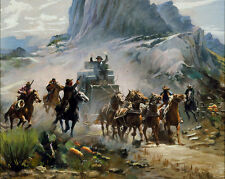 HD Art Canvas Print,oil Painting a Western attack on a stagecoach 16x20