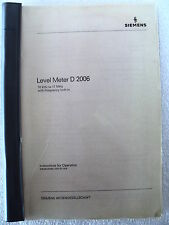 Siemens D2006 Level Meter Instructions for Operation and Maintenance