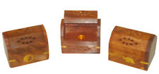 ONE WOODEN SMALL ASST COFFIN BOX INCENSE BURNER & CONES FREE SHIPPING