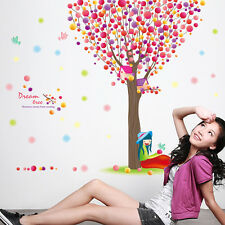Big Colorful Tree Girl Bird Wall Decals PVC Mural Home Baby Room 3D Art Stickers