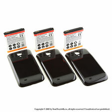 3 x 5600mAh Extended Battery for Samsung Galaxy S 4 IV i9500 Black Cover