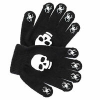 Children's Magic Stretch Black Gloves Rubber Print Palm Grip Skull Spiders Boys