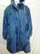 Vintage Stadium Coat Western Quilted Cotton Leather Denim Jacket ANDY JOHNS S,M