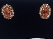 RARE  CORAL GREEL KEY  ENAMEL &  GOLD  - VICTORIAN EARRINGS  - FRENCH WIRE BACKS