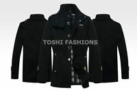 New Style Winter Mens Warm Blazer Wool Military Coat Jacket Grey Black Belt Cllr