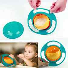 Feeding Toddler Gyro Bowl 360 Rotate w/ Lid Cup Baby Kid Avoid Food Spill