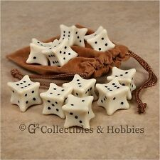 NEW Set of 10 Bone Dice & Bag D&D RPG Game D6 Six Sided Plastic Bones