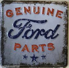 "FORD genuine ford parts weathered look embossed metal sign 12"" red white blue"