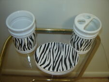 3 PC Zebra Wild Animal Print Black & White Bath Accessory Set Toothbrush Holder