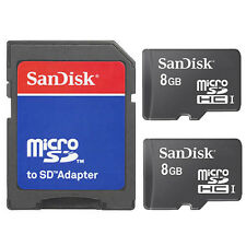 2 Pack SanDisk Class 4 8GB = 16GB MicroSD SDHC TF Flash Memory Card W/SD Adapter