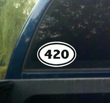 Oval 420 DECAL WALL OR CAR MARIJUANA WEED CANNABIS RASTA POT STICKER