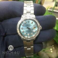 Vintage Rolex Datejust 6517 Ice Blue Dial Diamond Bezel 26mm Oyster Ladies Watch