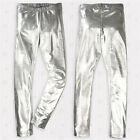 Sexy Shiny Wet Look glanz pvc lycra vtgg mens SILVER Full Length ibiza Leggings