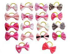 10X  Cute bowknot small Pet Hair Bows Cat Puppy W/Rubber Bands Hair Accessories