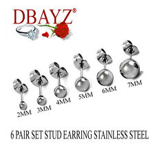 6 Pair Set Ball Stud Earring Stainless Steel Free Shipping 30 Days Refund SS20