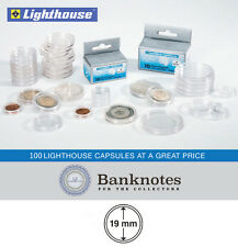 100 Coin Capsules Lighthouse Direct Fit 19MM Holders US Penny / 2 Euro Cents