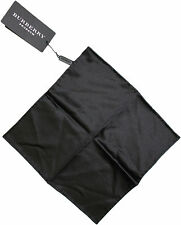 BURBERRY PRORSUM BLACK SATIN POCKET SQUARE/ HANDKERCHIEF-MADE IN ITALY