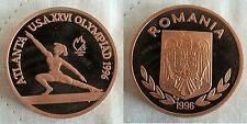 Rare 1996 Romania Copper 100 L Piedfort pattern Olympic Gymnast
