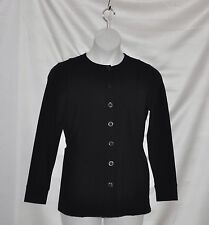 Linea Leisure by Louis Dell'Olio Button Front Knit Jacket Size S Black