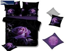 Purple Rose King Size Bed Duvet/Doona/Quilt Cover Set New