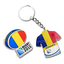 Rugby World Cup 2015 Romania Flag Pin and Key Ring Set