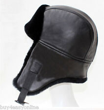Genuine Black Shearling Sheepskin Fur Leather Ushanka Trapper Winter Hat