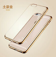 Shockproof Silicone/Rubber Metal Bumper Clear Case Cover For iPhone 6 6s Plus
