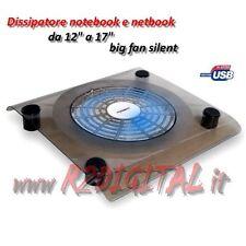 DISSIPATORE NOTEBOOK 11 12 13 14 15 15,4 17 POLLICI LED BLU VENTOLA GRANDE USB