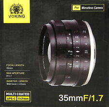 Voking 35mm / 1.7 für Micro Four Thirds MFT Objektiv lens neu new - (101851)