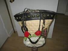 AUTHENTIC BETSY JOHNSON, BETSYVILLE CANVAS AND LEATHER BAG, EXCELLENT